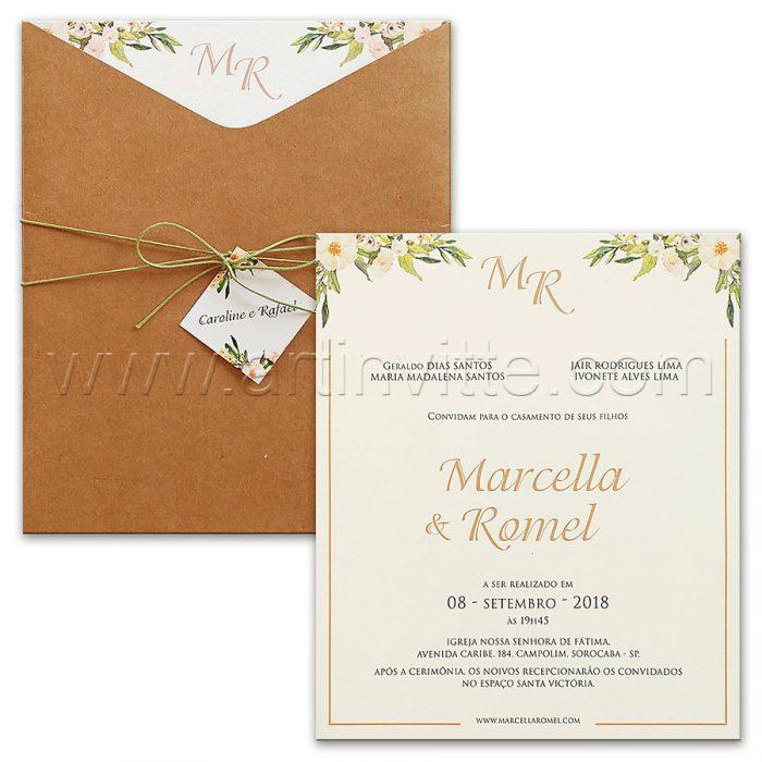 Convite de casamento Rùstico - HA 084 - Kraft e flores - Art Invitte Convites rústicos
