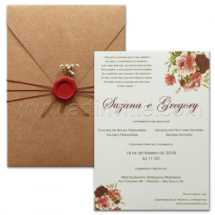 Convite de casamento rustico romantico - HA 085 - Kraft e flores - Art Invitte Convites rústicos