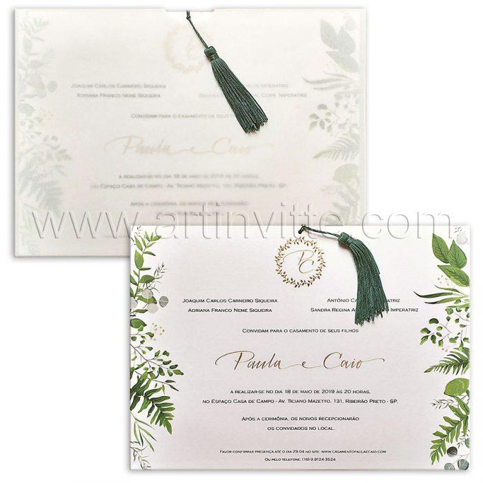 Convite de casamento Moderno - Haia HA 086 - Flores e Tassel - Art Invitte Convites