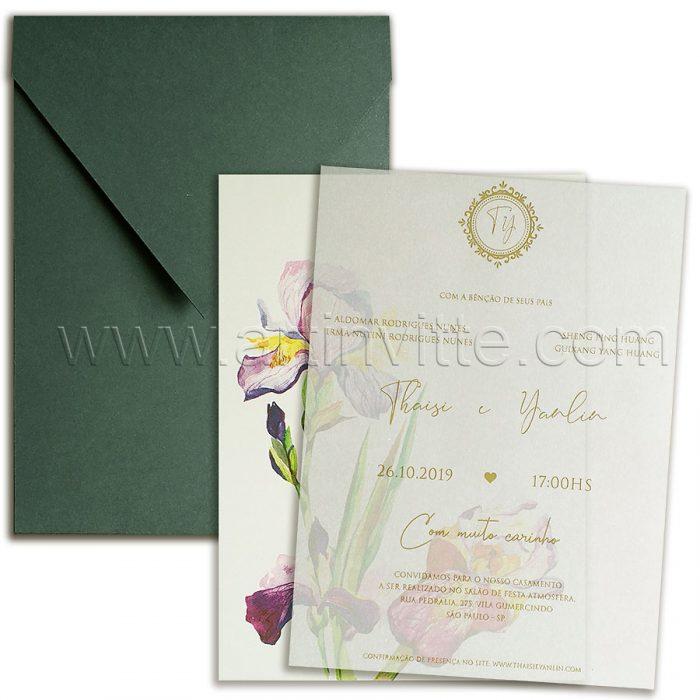 Convite de casamento Exótico - Haia HA 087 - Flores e Vegetal - Art Invitte Convites