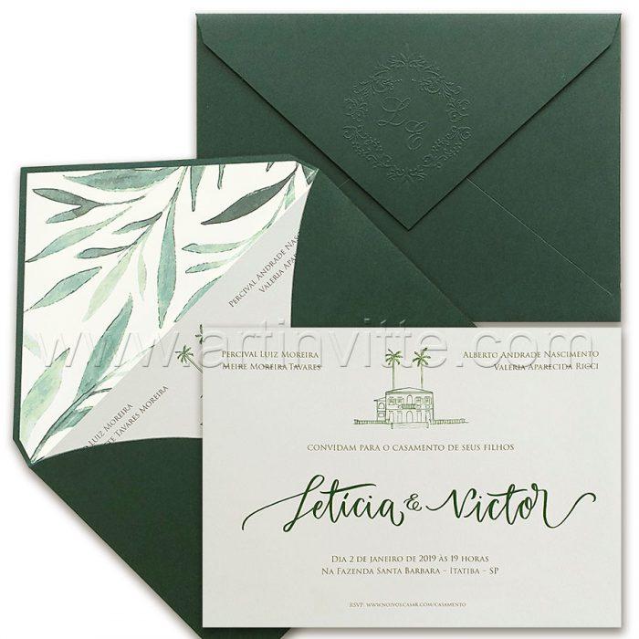 Convite de casamento campestre - Haia HA 088 - Verde e Branco - Art Invitte Convites
