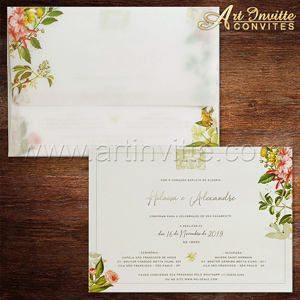 Convite de casamento flora com impressão digital no convite e no envelope