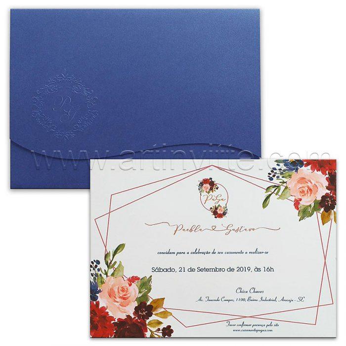 Convite de casamento Floral - Haia HA 090 - Flores e Azul - Art Invitte Convites