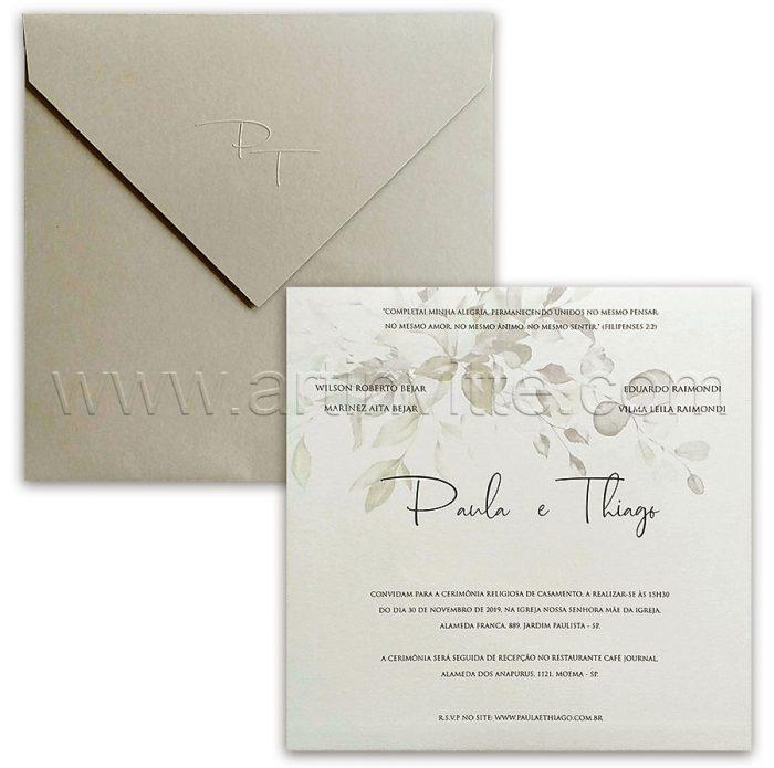 Convite de casamento Tons de Cinza - Haia HA 091 - Art Invitte Convites