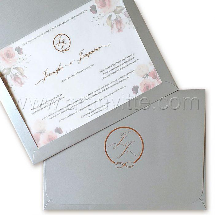 Convite de casamento modelo Haia HA 092, floral prata e rosê