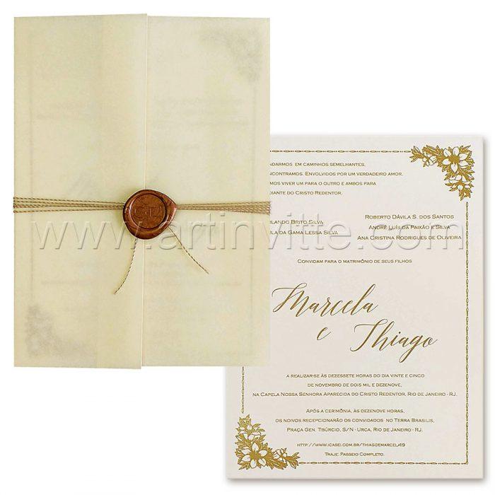 Convite de casamento vintage Haia HA 093