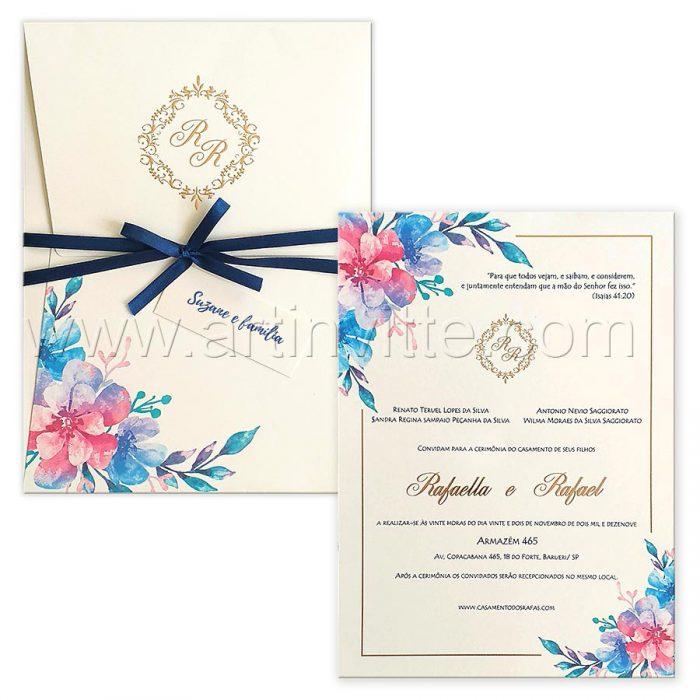 Convite de casamento Floral vertical Haia HA 094 - tons de azul - Art Invitte Convites
