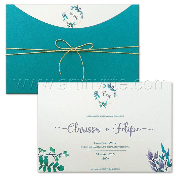 Convite de casamento Floral Haia HA 095 - tons de azul - Art Invitte Convites