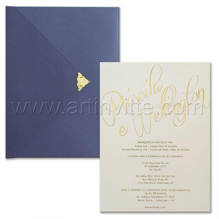 Convite de casamento elegante Haia HA 097 - Marinho e Dourado - Art Invitte Convites