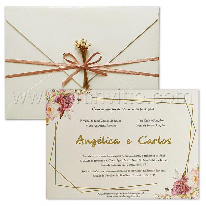Convite de casamento Floral - Haia HA 100 - Flores e Rosê- Art Invitte Convites