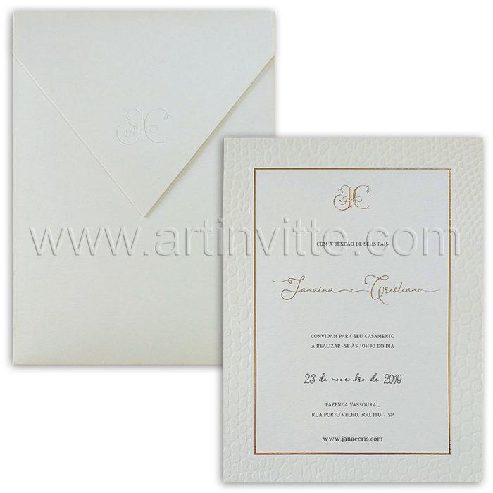 Convite de casamento de luxo modelo Haia HA 101
