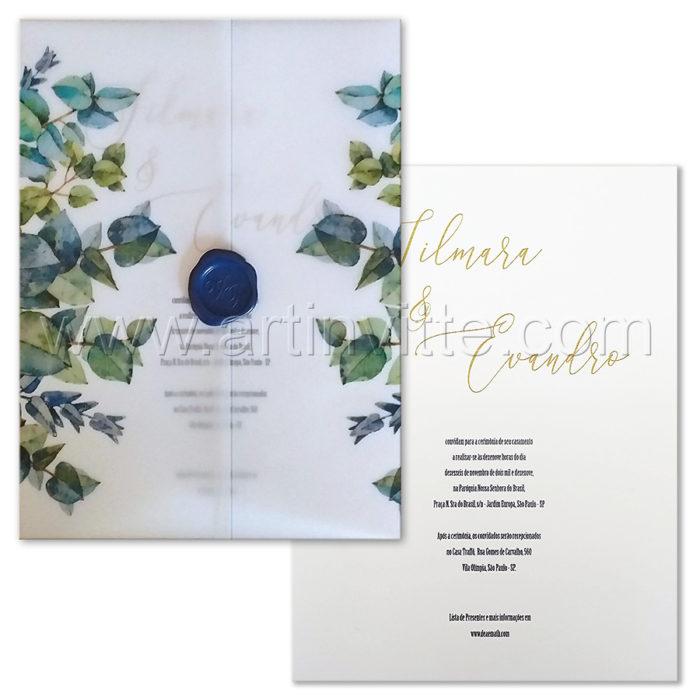 Convite de casamento Haia HA 103 - Vegetal com eucaliptos e lacre azul