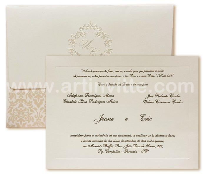 Convites de casamento Veneza VZ 041 pérola