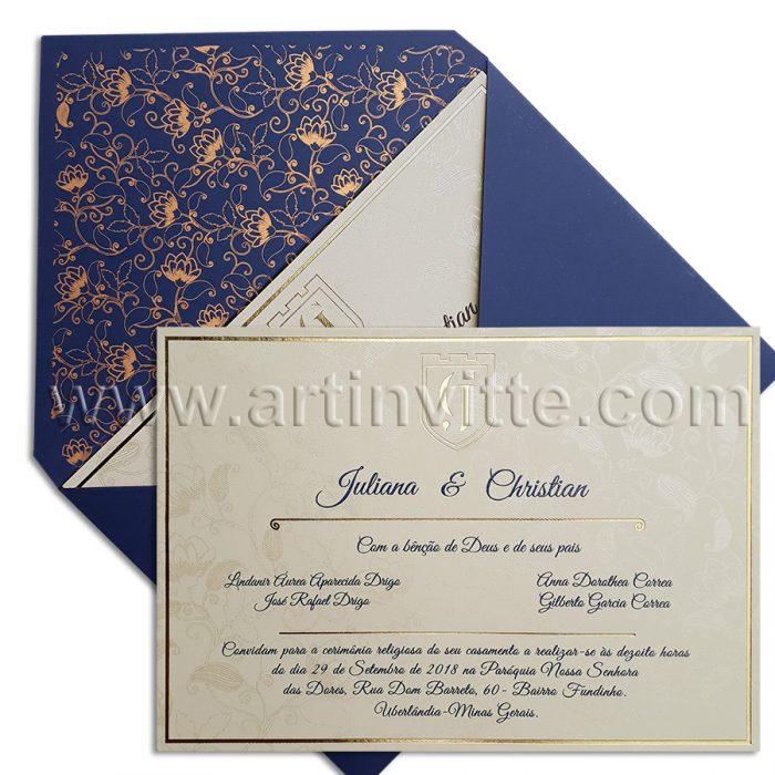 Convite de casamento Moderno Frisos DF015