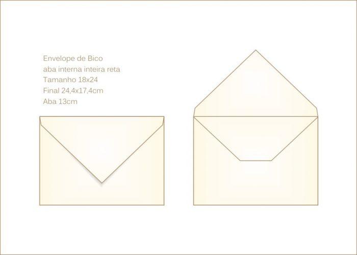 Envelope para convite 18x24cm Bico 006 com abas internas retas