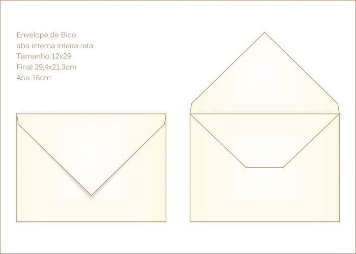 Envelope para convite 21x29cm Bico 007 com abas internas retas