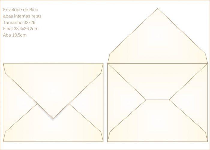 Envelope para convite 26x33cm Bico 008 com abas internas retas