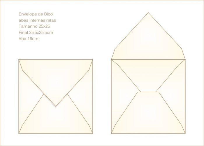 Envelope para convite 26x26cm Bico 009 com abas internas retas