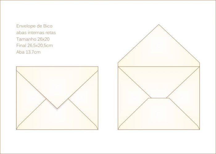 Envelope para convite 22x26cm Bico 010 com abas internas retas