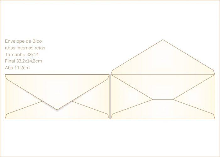 Envelope para convite 14x33cm Bico 011 com abas internas retas