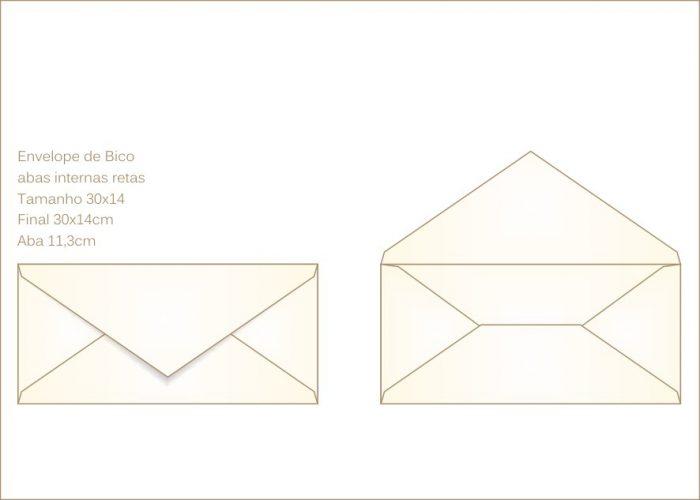 Envelope para convite 14x30cm Bico 012 com abas internas retas