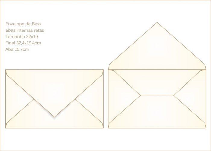 Envelope para convite 19x22cm Bico 013 com abas internas retas