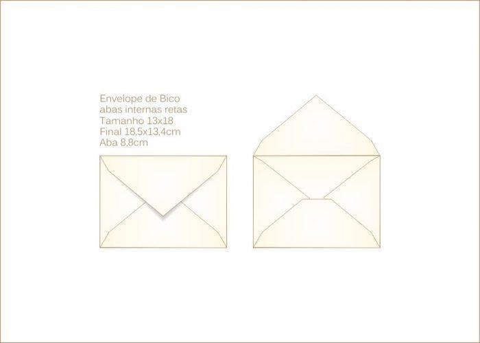 Envelope para convite 13x18cm Bico 014 com abas internas retas