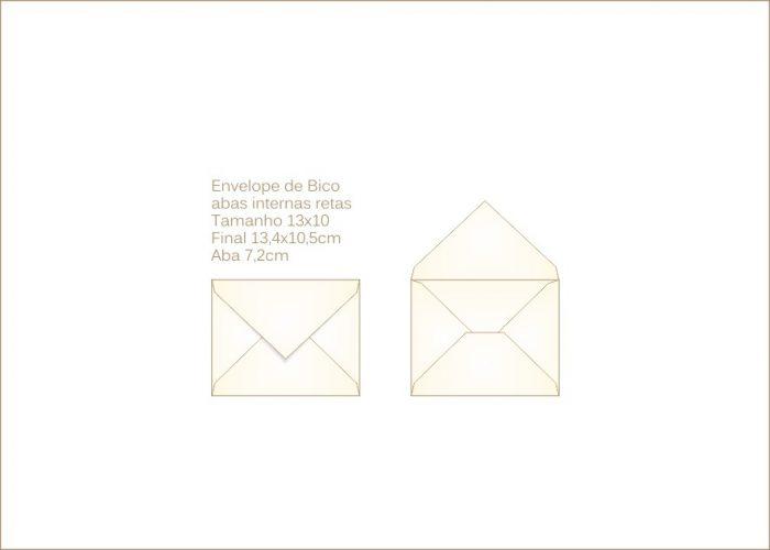 Envelope para convite 10x13cm Bico 015 com abas internas retas