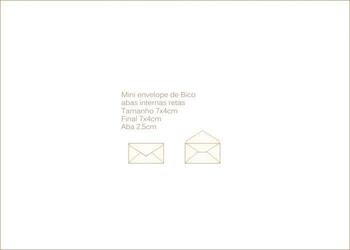 Envelope para convite 4x7cm Bico 016 com abas internas retas