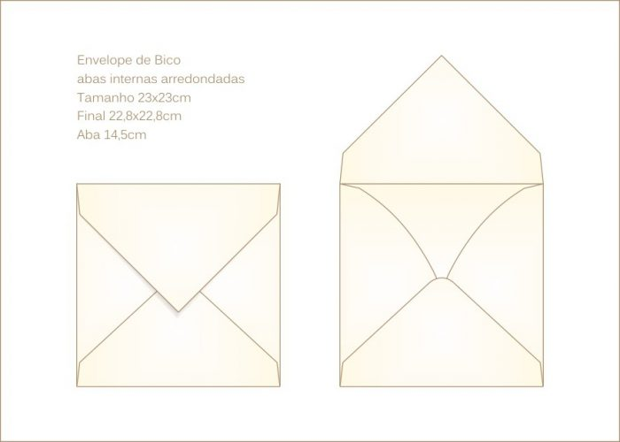 Envelope para convite 23x23cm Bico 017 - abas arredondadas