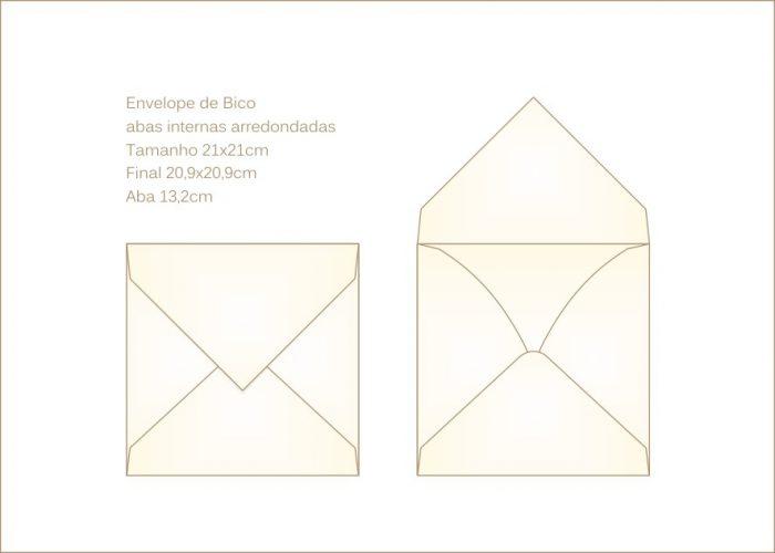 Envelope para convite 21x21cm Bico 018 - abas arredondadas