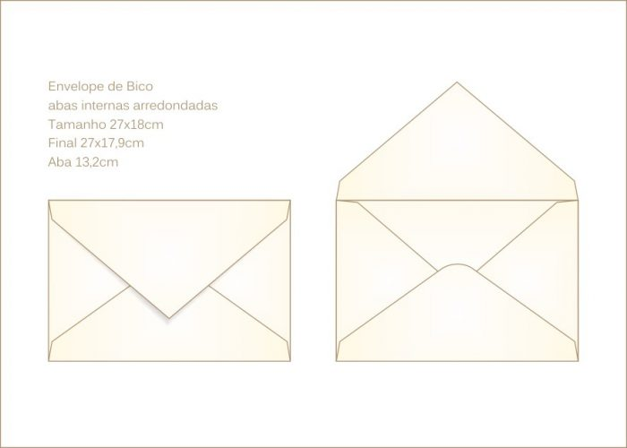 Envelope para convite 18x27cm Bico 020 - abas arredondadas