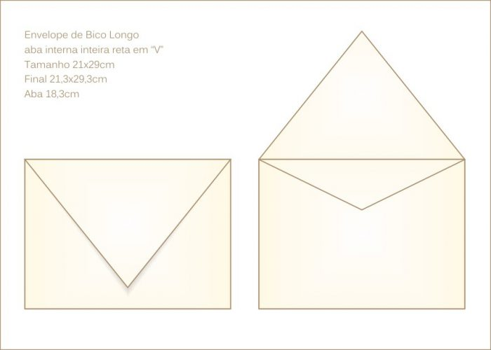 Envelope para convite 21x29cm Bico 021 com abas internas em v