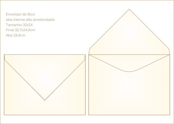 Envelope para convite 23x33cm Bico 025 com abas internas canoa