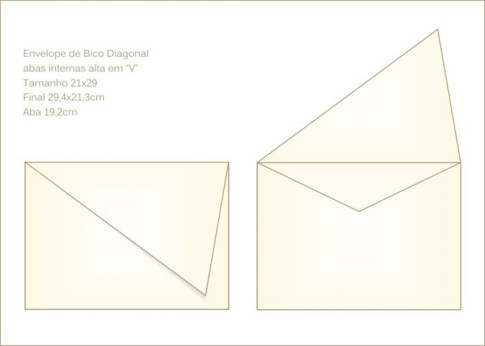 Envelope para convite 21x29cm Bico 026 com bico em diagonal