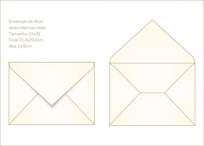 Envelope para convite 21x29cm Bico 027 com abas internas retas