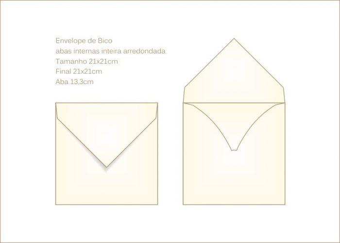 Envelope para convite 21x21cm Bico 030 quadrado com aba interna arredondada