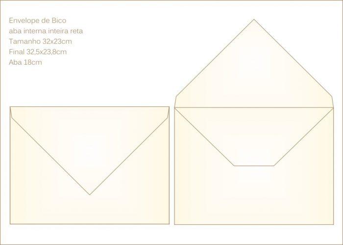 Envelope para convite 23x32cm Bico 031 com abas internas retas