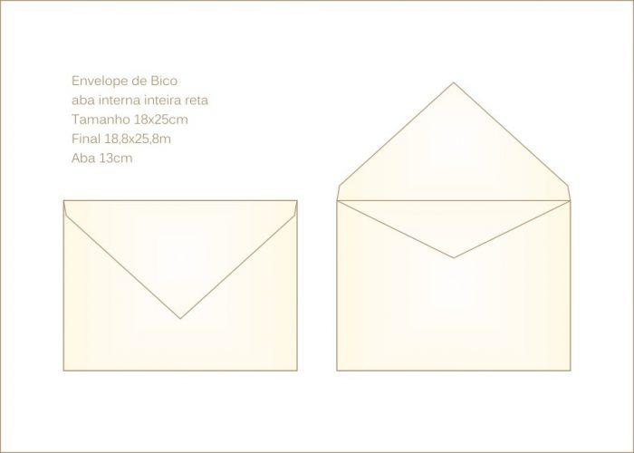 Envelope para convite 18x25cm Bico 033 com abas internas em v