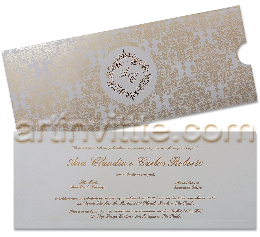 Convite de casamento Fronha FR 046