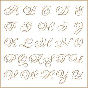 Letras e fontes para brasão e monograma - Gravura