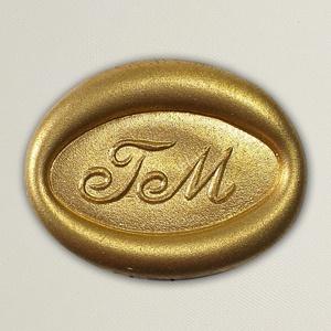 Lacre de resina para convite de casamento - Formato Oval Horizontal - Art Invitte Convites