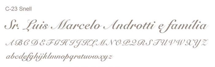 Letra e Fontes para convites de casamento - Letras Clássicas C-23