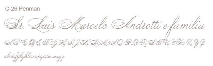 Letra e Fontes para convites de casamento - Letras Clássicas C-26 - Art Invitte Convites
