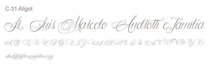 Letra e Fontes para convites de casamento - Letras Clássicas C-31 - Art Invitte Convites