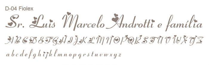 Letra e Fontes para convites de casamento - Letras Debutantes D-04 - Art Invitte Convites