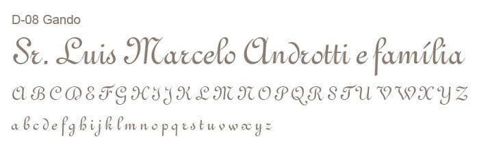 Letra e Fontes para convites de casamento - Letras Debutantes D-08- Art Invitte Convites