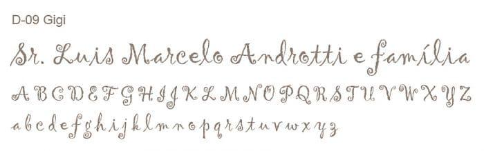 Letra e Fontes para convites de casamento - Letras Debutantes D-09 - Art Invitte Convites