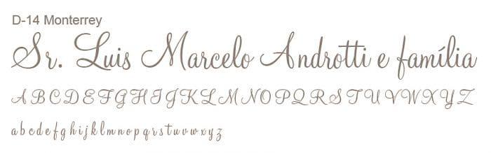Letra e Fontes para convites de casamento - Letras Debutantes D-14 - Art Invitte Convites