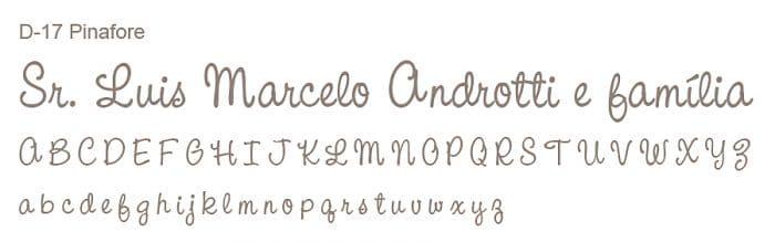 Letra e Fontes para convites de casamento - Letras Debutantes D-17 - Art Invitte Convites